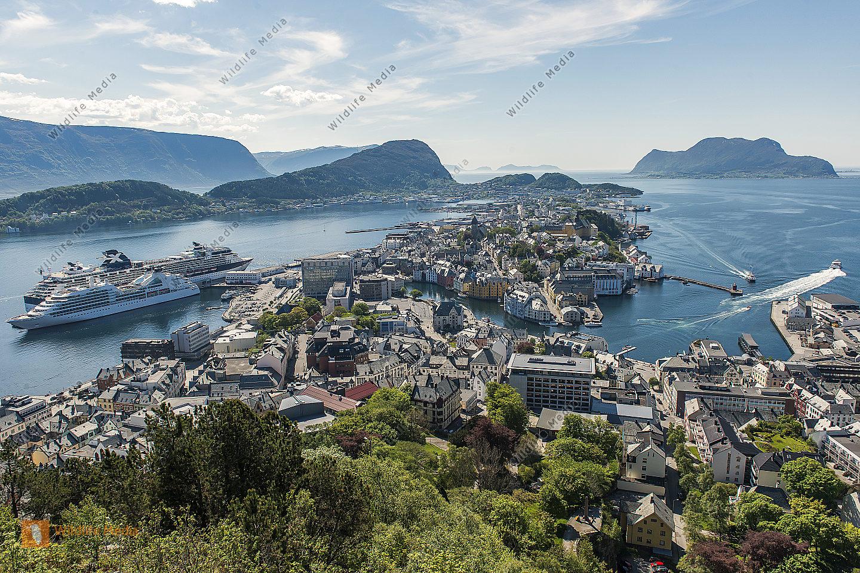 Ålesund Norwegen Blick vom Hausberg Aksla über die Stadt