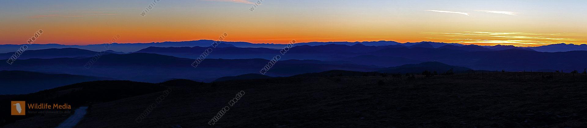 Hochwechsel Panorama Sonnenuntergang