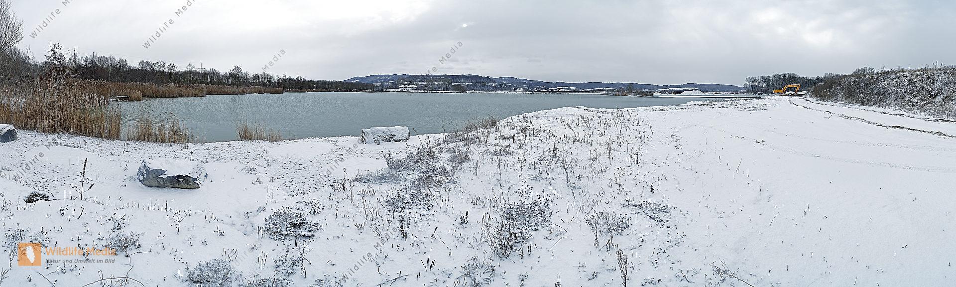 Schotterteich Winter Panorama